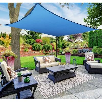 Boen Rectangle Sun Shade Sail Canopy Awning UV Block for Outdoor Patio Garden and Backyard - Blue - 10'x13'
