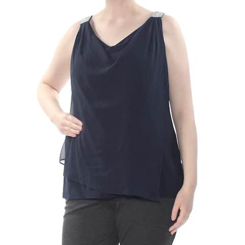 MSK Womens Navy Embellished Sleeveless Scoop Neck Top Plus Size: 1X