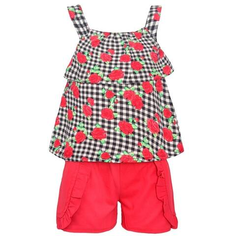 My Destiny Little Girls Red Rose Print Checkered Top 2 Pc Shorts Outfit