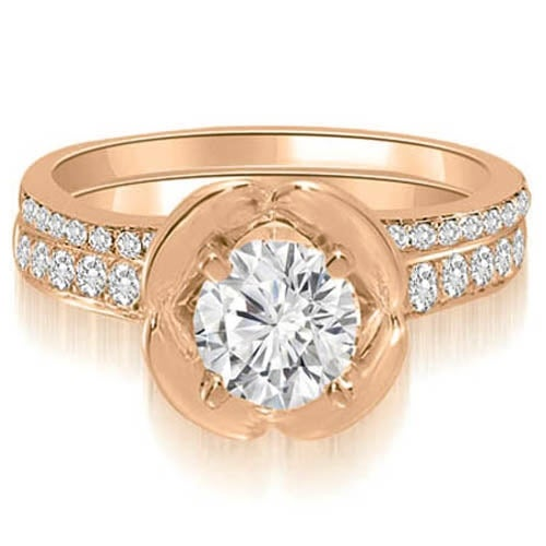 1.25 cttw. 14K Rose Gold Round Cut Diamond Bridal Set