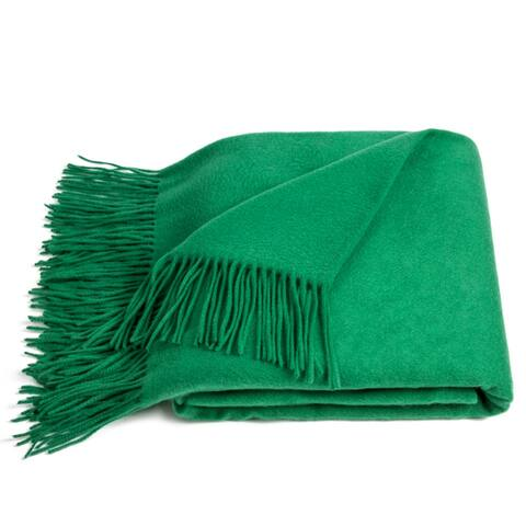 STP-Goods Emerald Cashmere & Wool Throw Blanket