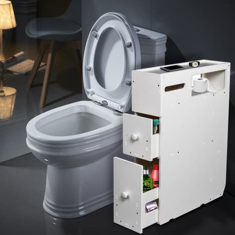 PVC Bathroom Storage Floor Narrow Cabinet with 2 Drawers