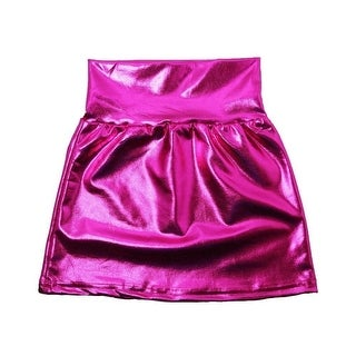 Little Girls Hot Pink Metallic Shine Stretchy Lightweight Soft Skirt 3T-5