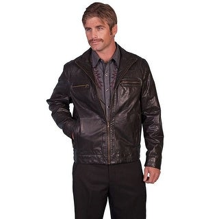 Scully Western Jacket Mens Lambskin Leather Zip Brown