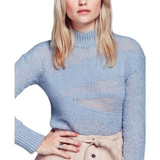 Free People Womens Mock Turtleneck Sweater Alpaca Open Stitch
