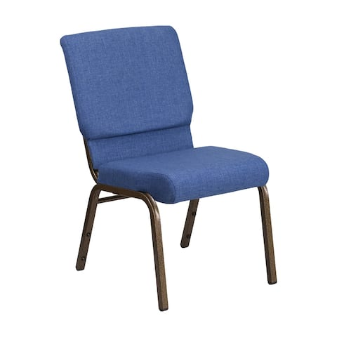 Offex 18.5''W Stacking Church Chair in Blue Fabric - Gold Vein Frame