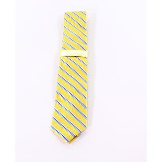 Michael Kors NEW Yellow One Size Houndstooth Stripe Silk Neck Tie