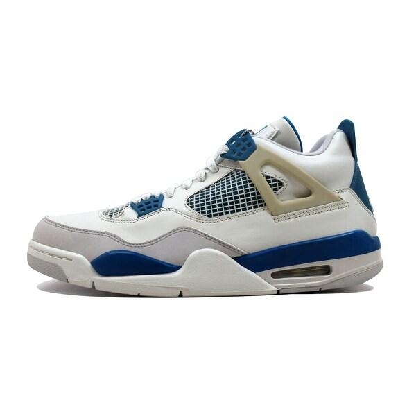 Nike Men's Air Jordan IV 4 Retro Off White/Military Blue-Neutral Grey Military 308497-141