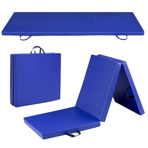 Gymax 6'x2' Fitness Exercise Tri-Fold Gymnastics Mat Blue