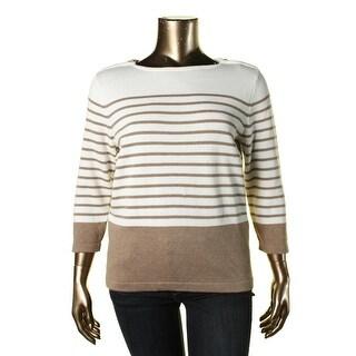 Karen Scott Womens Zip Shoulder Striped Pullover Sweater - XL