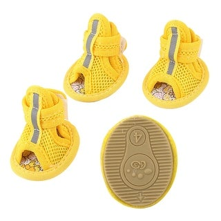 Unique Bargains 2 Pair Pet Dog Yorkie Foot Pretect Meshy Shoes Boots Booties Yellow Size XS