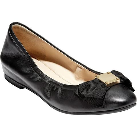 Cole Haan Women's Tali Soft Bow Ballet Flat Black Smooth Leather