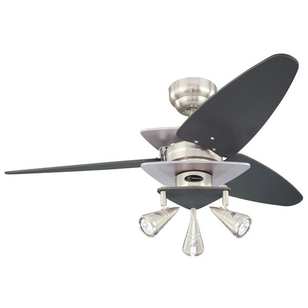 "Westinghouse 7850700 Vector Elite 42"" 3 Blade Hanging Indoor Ceiling Fan with Reversible Motor, Blades, Light Kit, and Down Rod"