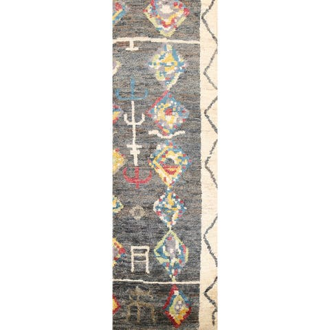 """Tribal Moroccan Oriental Runner Rug Hand-knotted Contemporary Carpet - 2'6"""" x 7'7"""""""