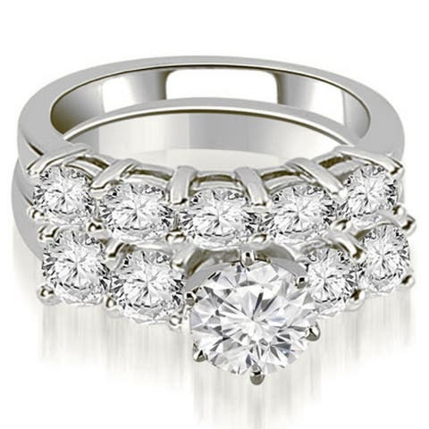 3.00 CT Basket Prong Set Round Cut Diamond Bridal Set in 14KT Gold - White H-I
