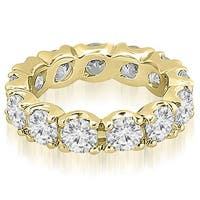 14K Yellow Gold 4.25 ct.tw Vintage Round Cut Diamond Fishtail Eternity Ring HI,SI1-2
