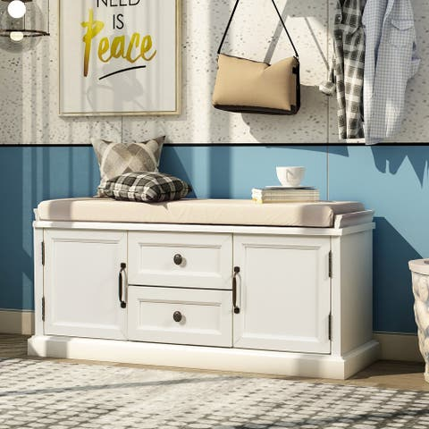 Entryway Storage Bench with 2 Drawer&2 Cabinet&Removable Cushion,White