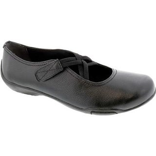 Ros Hommerson Women's Cozy Cross Strap Flat Black Leather