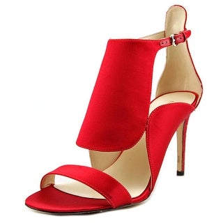 Nine West Denita Women Open-Toe Canvas Red Heels