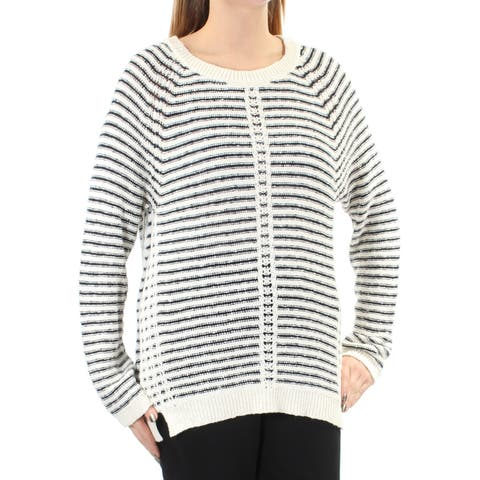 a1b944914a VINCE CAMUTO Womens Ivory Slitted Striped Long Sleeve Jewel Neck Sweater  Size  2XS