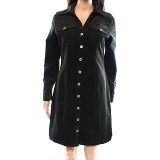 INC NEW Green Olive Women's Size 6 Corduroy Collared Shirt Dress