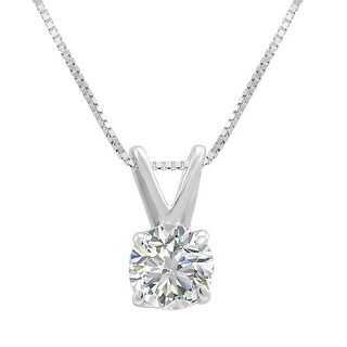 Amanda Rose AGS Certified 1/2ct Diamond Solitaire Pendant in 14K White Gold - White J-K
