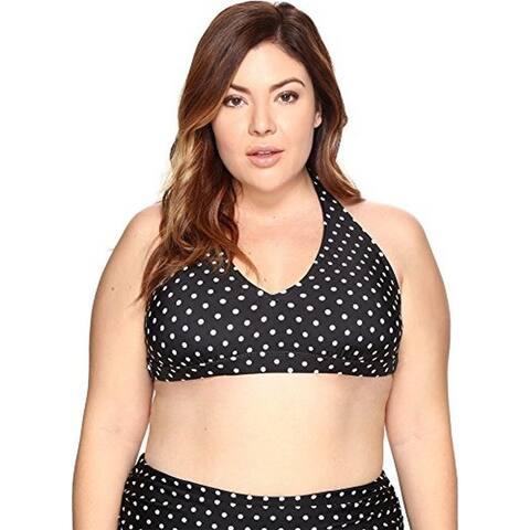 LAUREN Ralph Lauren Plus Women's Dots Halter Swimsuit Top, 18W