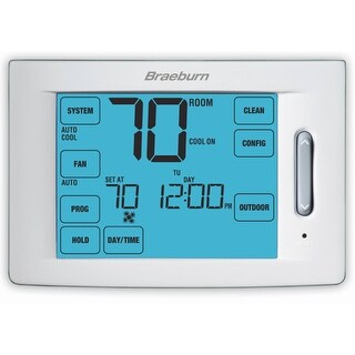"""Braeburn 6300 Touchscreen 5/2 Programmable Thermostat with 12"""" Square Inch Area Display and 4 Stage Heating / 2 Stage Cooling"""