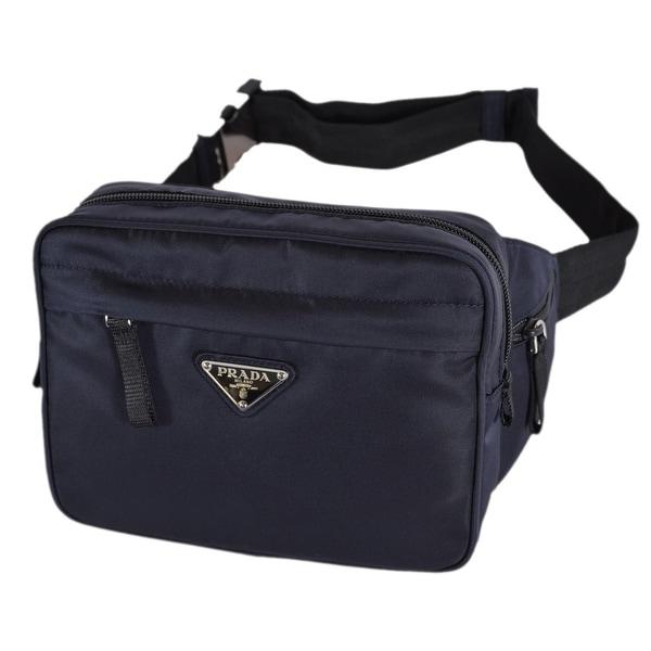 1cb3ae0fae8f Shop Prada 2VL001 Tessuto Montag Blue Nylon Waist Fanny Pack Purse ...