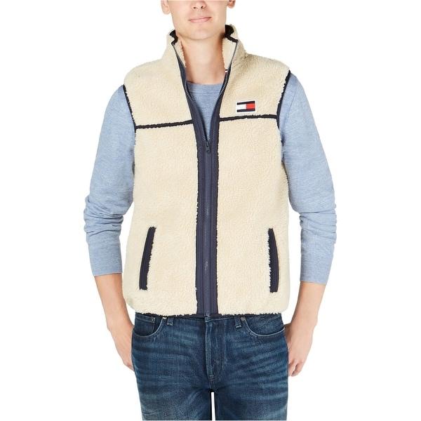 ea94a13bf Tommy Hilfiger Mens Jacket Beige Size XL Sherpa Fleece Full-Zip Vest