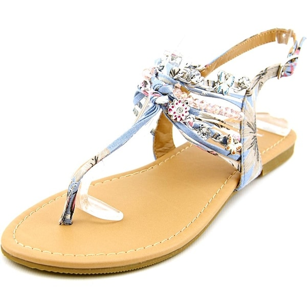 Famous Name Brand Sandy   Open-Toe Canvas  Slingback Sandal