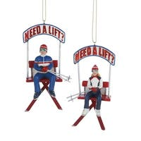 "Pack of 12 Boy and Girl ""Need a Lift?"" Skiing Christmas Ornaments 4"" - BLue"