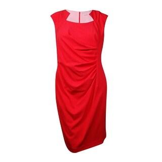 Calvin Klein Women's Tucked Scuba Sheath Dress - Watermelon