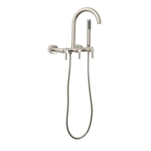 Giagni CWTF Contemporary Clawfoot Wall Mounted Tub Filler Faucet with Metal Lever Handles and Built-