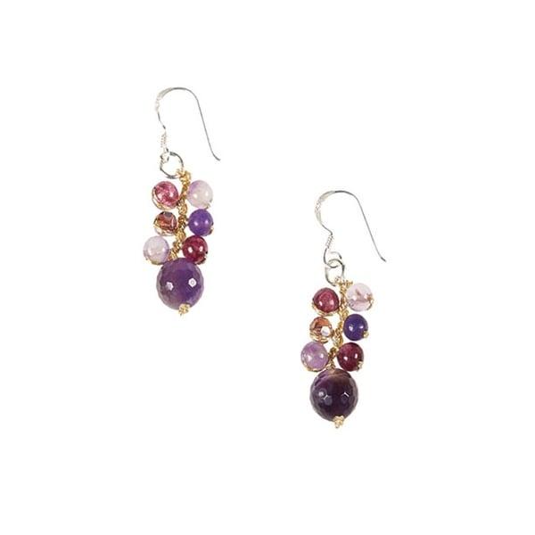Women's Purple Amethyst Cluster Sterling Silver Dangle Earrings