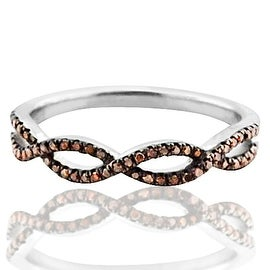 Infinity Band Wedding Anniversary Ring Twisted Cognac Brown Diamonds in Silver(i2/i3, I/j, 1/8ctw)