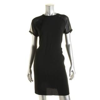 Vince Womens Crepe Chiffon Trim Wear to Work Dress - S