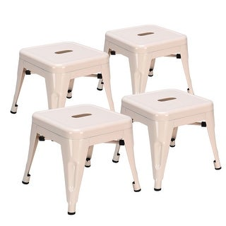 Costway Set of 4 Kids Stool Stackable Metal Children Toddlers Lightweight