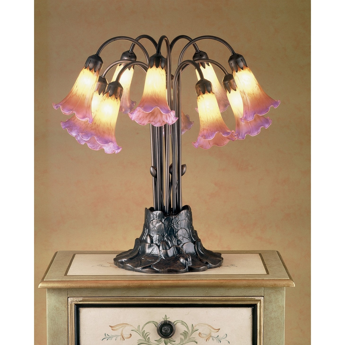 Shop 22 Inch H Amber Purple Pond Lily 10 Lt Table Lamp Overstock 13989879