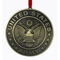 "3.5"" Gold Metal United States Army Round Logo Christmas Ornament"