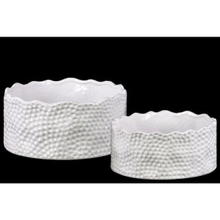 Ceramic Irregularly Round Pot With Pimpled Accents, Set of Two, White