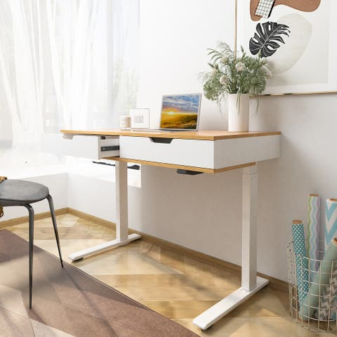 FlexiSpot Height Adjustable Standing Desk Quick Install Home Office Table Storage USB Post Ergonomic Computer Desk Two Drawers