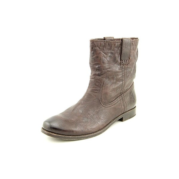Frye Anna Shortie Women Round Toe Leather Brown Mid Calf Boot