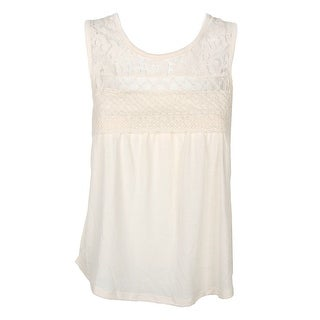 Self Esteem Junior Cream Lace Embellished Sleeveless Tank Top XS