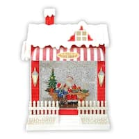 """10"""" LED Glittered Red and White Santa's Toy Shop Christmas Building"""