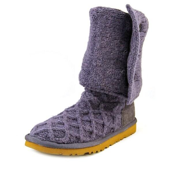 Ugg Australia Lattice Cardy Women Round Toe Canvas Blue Winter Boot