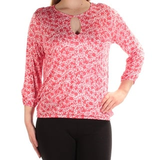 MICHAEL KORS Womens Red Floral Long Sleeve Keyhole Blouse Top Size: 2XS