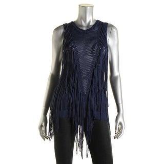 Ronny Kobo Womens Knit Fringe Sweater - S