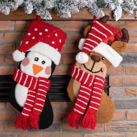 """Glitzhome 19""""L 3D Hooked Stocking Santa Penguin Reindeer"""