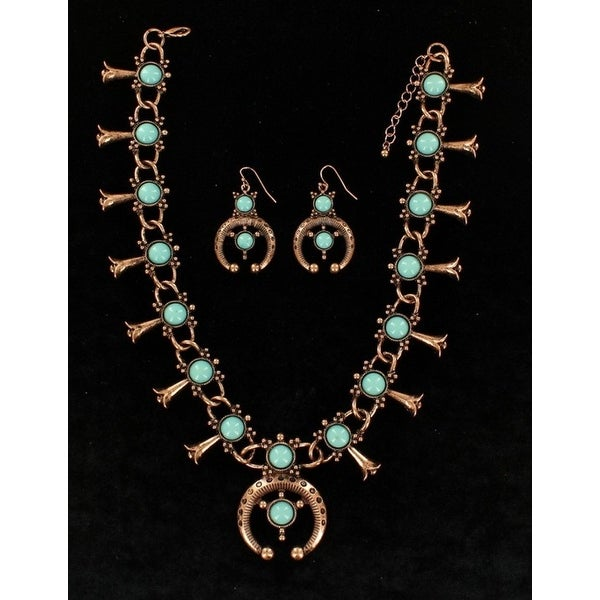Blazin Roxx Jewelry Womens Squash Blossom Earrings Necklace Turq 29967